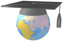Education Mortar board Graduation Cap on Earth Royalty Free Stock Image