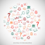 Education Multicolor doodles Hand Drawn Education Icons set on White. EPS10 vector illustration. Stock Photography
