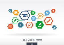 Education network. Hexagon abstract background. With lines, polygons, and integrate flat icons. Connected symbols for elearning, knowledge, learn and global Royalty Free Stock Image