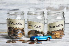 Education, new car and recreation. Royalty Free Stock Photography