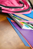Education: New School Supplies On Table Stock Photography