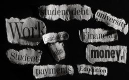 Education news. Education and financial related news headline items stock images