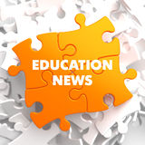 Education News on Orange Puzzle. Royalty Free Stock Photography