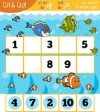 Education numbers game for children, Fish and Sea. Cut out the numbers and glue them in order Stock Photo