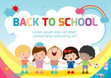 Education object on back to school background, back to school, Kids holding hands , education concept, Template. For advertising brochure, your text ,Vector vector illustration