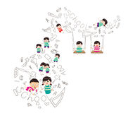 Education object on back to school background. Little Children happy playing illuttration stock illustration