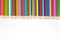Education object, close up of multiple color pencils on white background Stock Photography