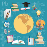 Education object international training globe map back to school Stock Images