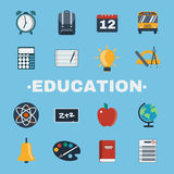 Education Objects Icons Set Stock Image