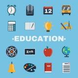 Education Objects Icons Set Stock Image