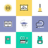 Education objects pictogram icons set Royalty Free Stock Images