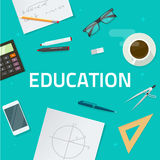 Education objects on work desk, school math lesson study concept Stock Photography