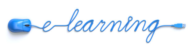 Education online concept. Online education concept with blue mouse and cable in the shape of e-learning word