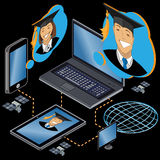 Education. Online education, isometric vector illustration Royalty Free Stock Photography