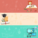 Education, online learning, school subjects, vector banners