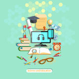 Education, online learning, student desk, vector illustration Stock Photo