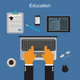 Education. Online training and studying. Vector illustration in flat design for web sites Stock Photography