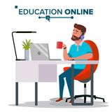 Education Online Vector. Home Online Education Service. Young Man In Headphones Working With Computer. Modern Learning. Education Online Vector. Home Online Stock Photo