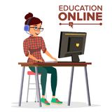 Education Online Vector. Home Online Education Service. Young Woman In Headphones Working With Computer. Modern Learning. Education Online Vector. Young Handsome Stock Images