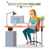 Education Online Vector. Young Handsome Woman In Headphones Sitting. Home Online Training Course. Modern Study. Education Online Vector. Home Online Education Stock Photography