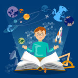 Education open book knowledge schoolboy studying astronomy Stock Photos