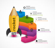 Education option Infographics design template. Rocket of a pencil for educational and business presentations and brochures. Royalty Free Stock Image