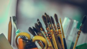 Education Paint Brush Tool Set royalty free stock image