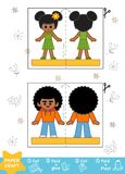 Education Paper Crafts for children, boy and girl. Education Paper Crafts for children, African American boy and girl. Use scissors and glue to create the image vector illustration