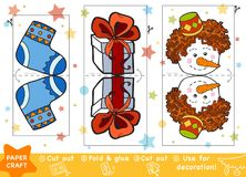Education Paper Crafts for children, Christmas Gift and snowman. Education Christmas Paper Crafts for children, Christmas Gift, Snowman and Christmas stocking stock illustration