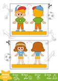 Education Paper Crafts, Sporty schoolboy and schoolgirl. Education Paper Crafts for children, Sporty schoolboy and schoolgirl. Use scissors and glue to create stock illustration