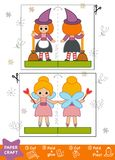 Education Paper Crafts for children, Witch and Fairy. Use scissors and glue to create the image Stock Image