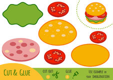 Education paper game for children, Burger. Use scissors and glue to create the image stock illustration