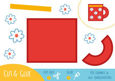 Education paper game for children, Cup. Use scissors and glue to create the image Stock Photos
