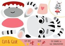 Education paper game for children, dancing Zebra vector illustration