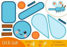 Education paper game for children, Dragonfly. Use scissors and glue to create the image stock illustration