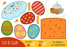 Education paper game for children, Easter cake and colored eggs Stock Photos