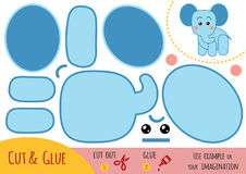Education paper game for children, Elephant vector illustration