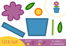 Education paper game for children, flower in a pot Royalty Free Stock Images
