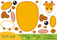 Education paper game for children, Giraffe. Use scissors and glue to create the image vector illustration