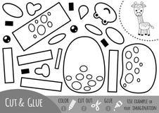 Education paper game for children, Giraffe Stock Image