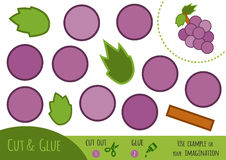 Education paper game for children, Grapes. Use scissors and glue to create the image stock illustration