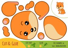 Education paper game for children, Hamster. Use scissors and glue to create the image vector illustration