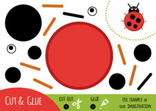 Education paper game for children, Ladybug. Use scissors and glue to create the image vector illustration