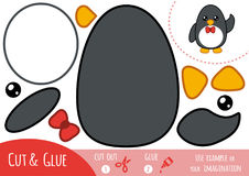 Education paper game for children, Penguin. Use scissors and glue to create the image stock illustration