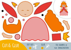Education paper game for children, Princess. Use scissors and glue to create the image Stock Photo
