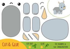 Education paper game for children, Rhino. Use scissors and glue to create the image stock illustration