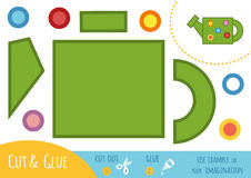 Education paper game for children, Watering can. Use scissors and glue to create the image Royalty Free Stock Photos