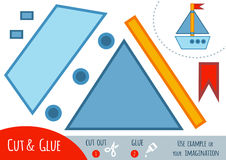 Education paper game for children, Yacht. Use scissors and glue to create the image vector illustration