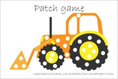 Education Patch game bulldozer for children to develop motor skills, use plasticine patches, buttons, colored paper or color the stock illustration