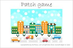 Education Patch game christmas for children to develop motor skills, use plasticine patches, buttons, colored paper or color the. Page, kids preschool activity stock illustration